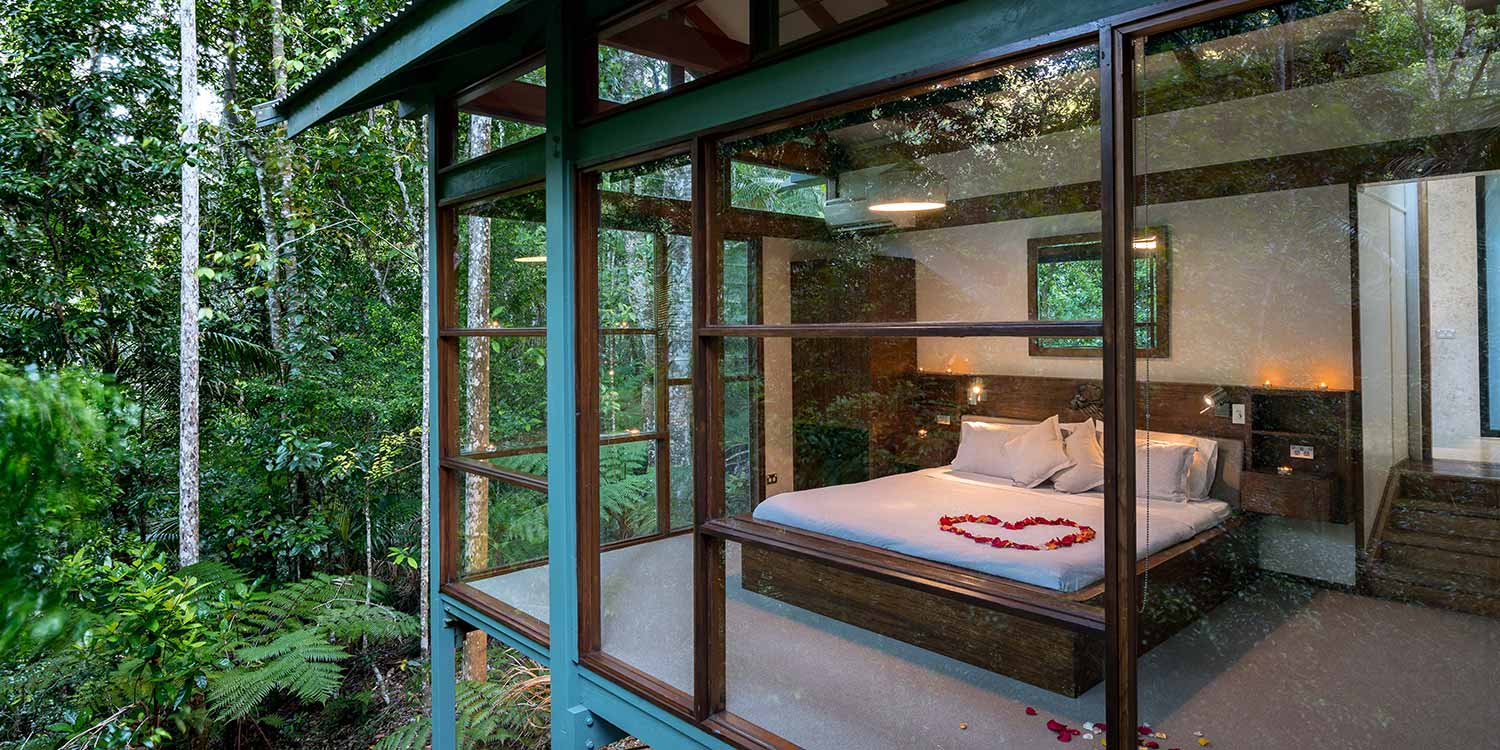 The Creekside Spa Cabins are closest to the creek and surrounded by rainforest