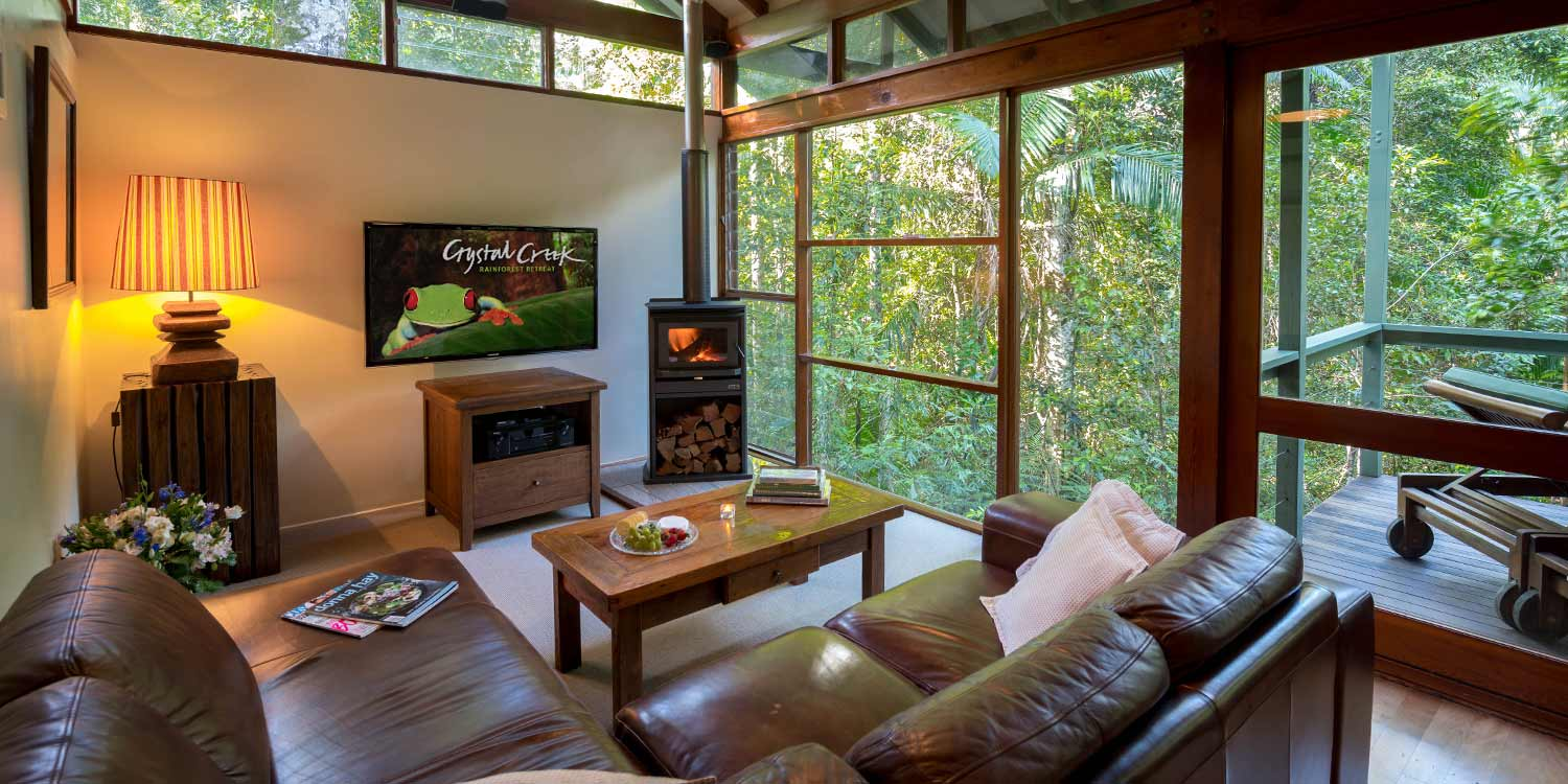 The Creekside Spa Cabins have fireplaces and rainforest views close to the creek, in the Tweed Valley, Far North Coast of New South Wales