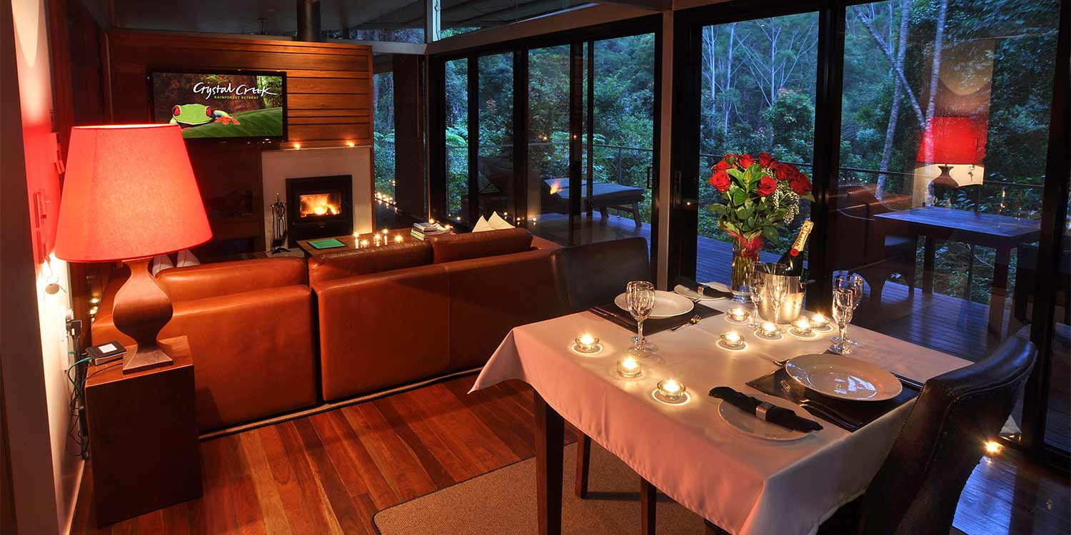 When your Glass Terrace Bungalow is set up with the 100 Candle Romantic Surprise for dinner, it is truly magical