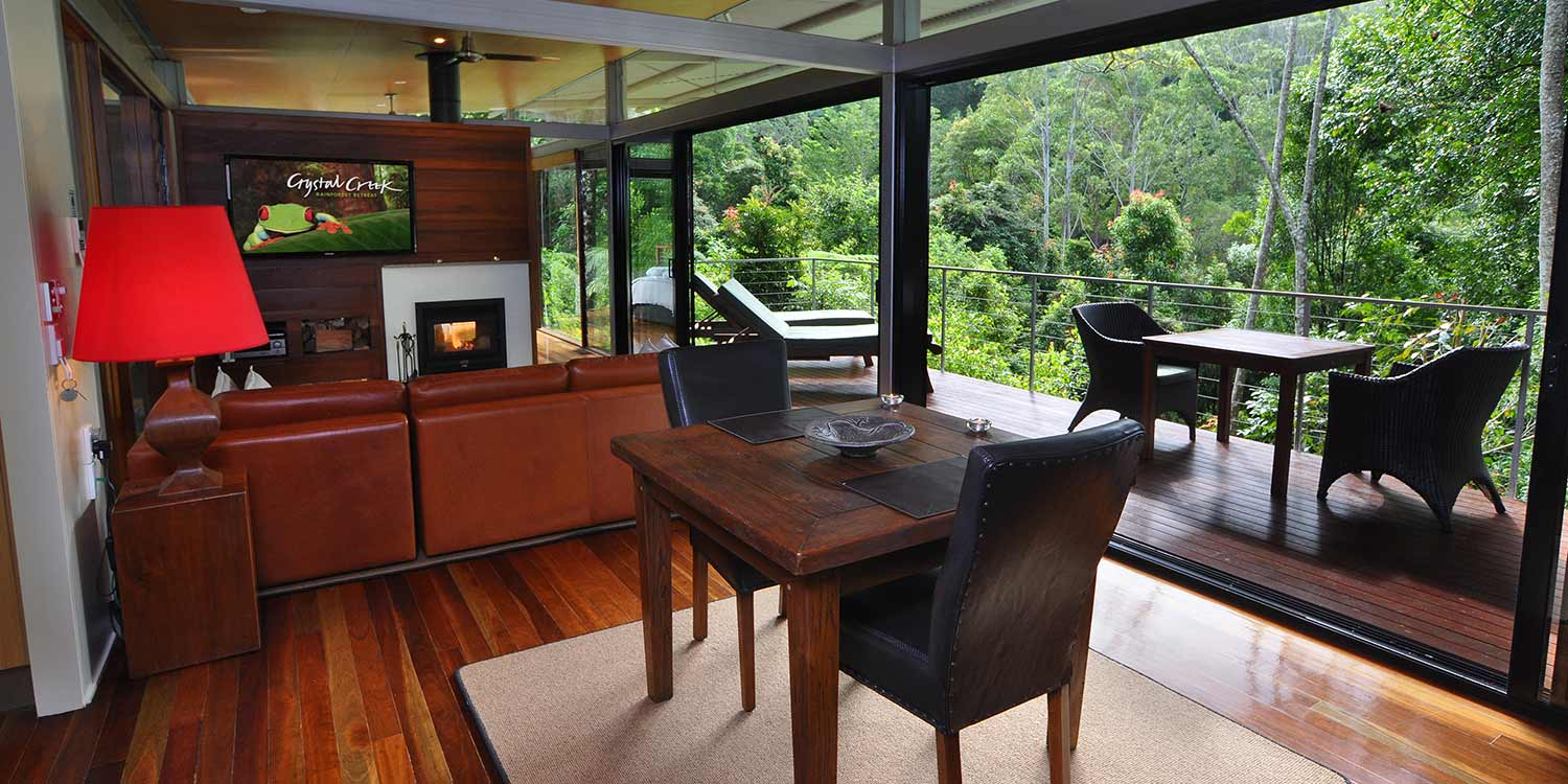 The Glass Terrace Bungalow is a streamlined, comfortable and contemporary living space open to the rainforest