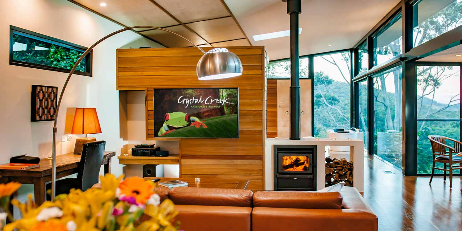 The Luxury Mountain View Lodges have views across the valley, in the hinterlands of Byron Bay and the Gold Coast