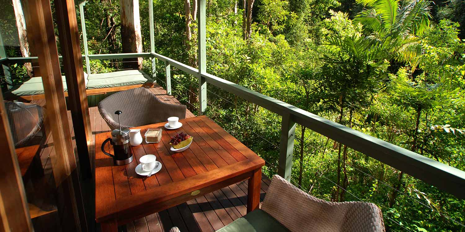 The private deck of your Rainforest Canopy Bungalow is a wonderful place for breakfast or just enjoying the sights and sounds of the Australian rainforest
