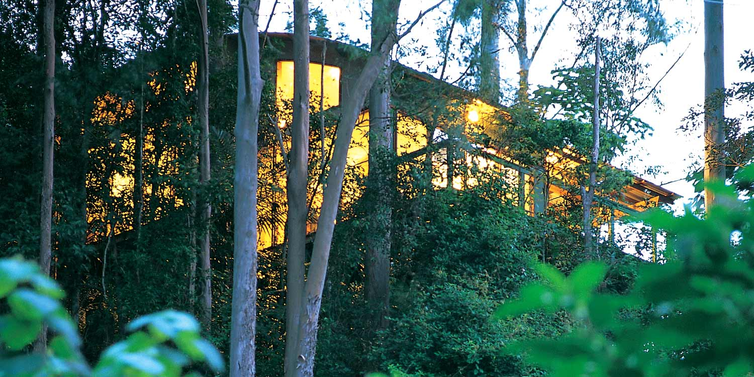The high curved ceiling of the Rainforest Canopy Bungalows can be seen from the outside