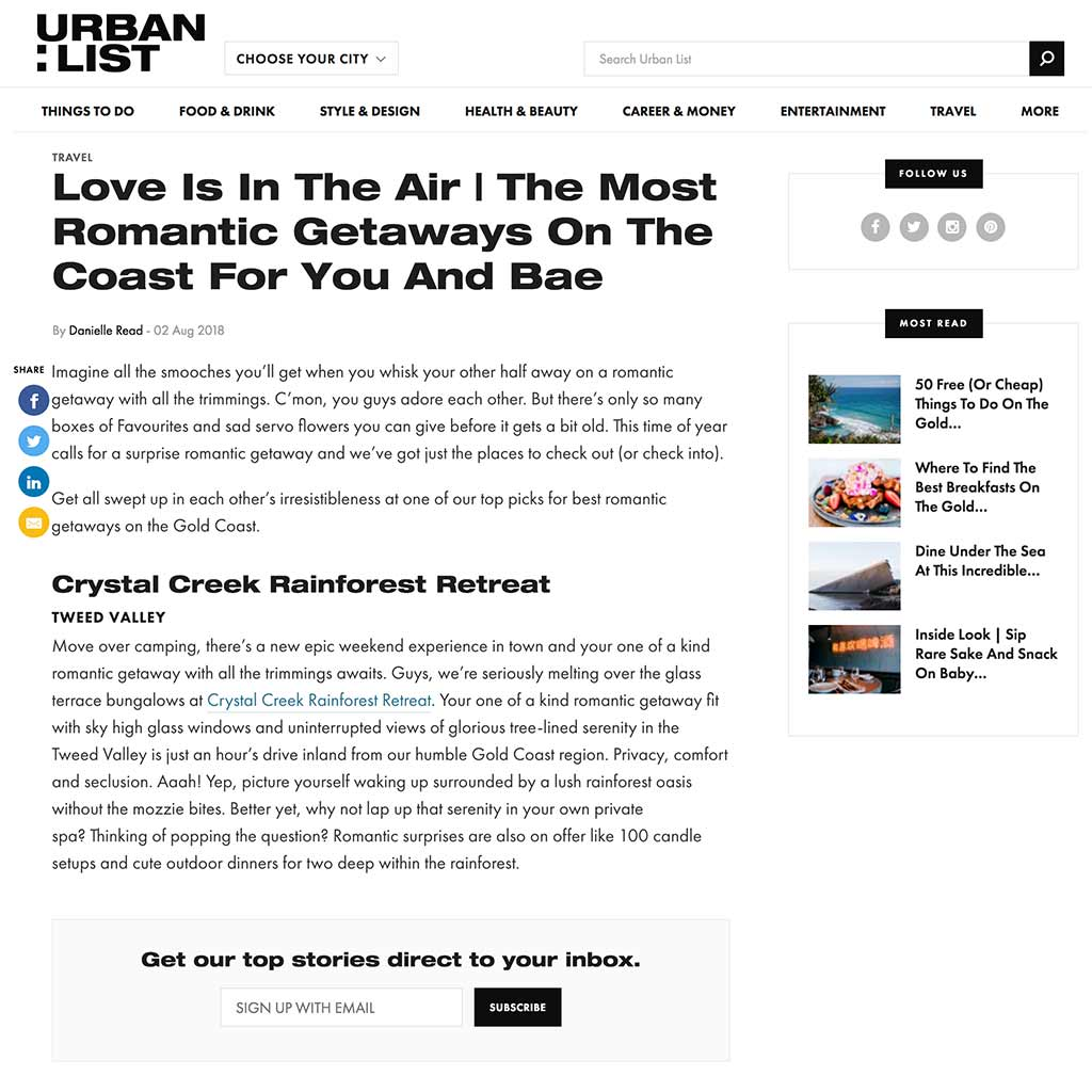 Urban List 2 August 2018 – Love Is In The Air | The Most Romantic Getaways On The Coast For You And Bae