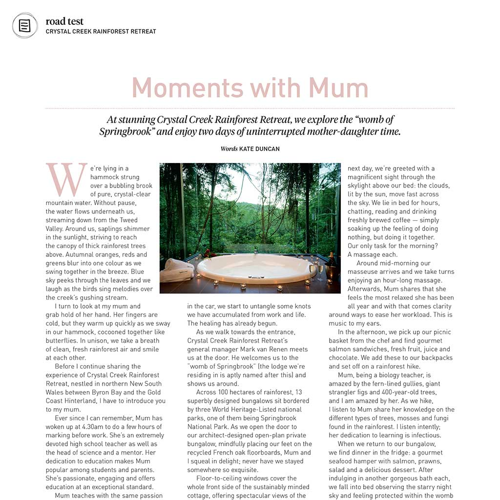 Wellbeing Magazine December 2018 – Moments with Mum