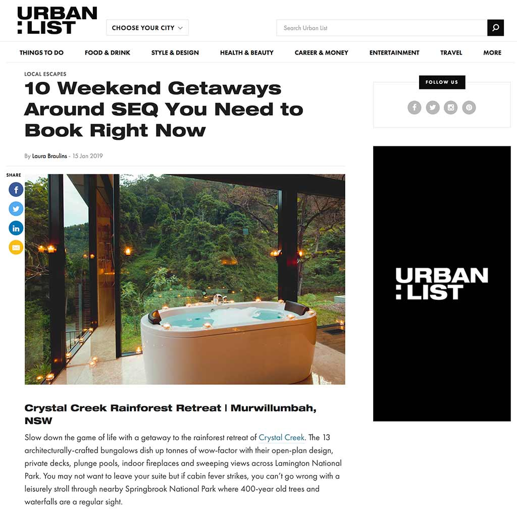 Urban List 15 January 2019-01-15 – 10 Weekend Getaways Around SEQ You Need to Book Right Now