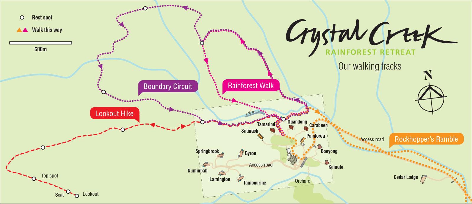 8 kilometres of walking tracks at Crystal Creek Rainforest Retreat